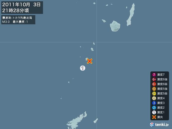 地震情報(2011年10月03日21時28分発生)
