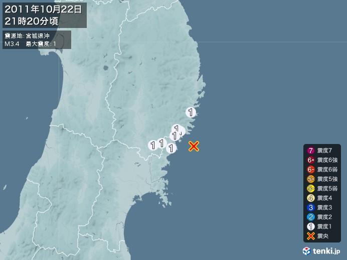 地震情報(2011年10月22日21時20分発生)
