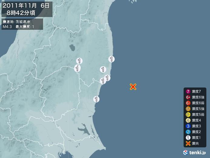 地震情報(2011年11月06日08時42分発生)