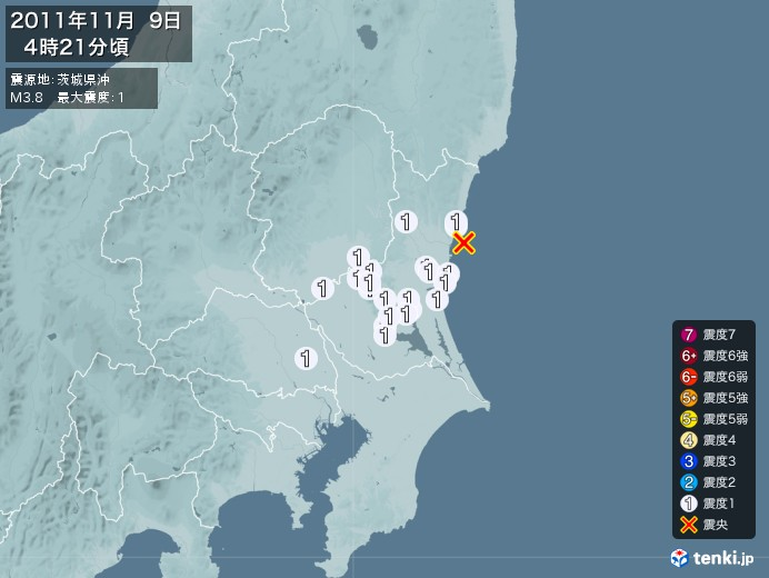 地震情報(2011年11月09日04時21分発生)