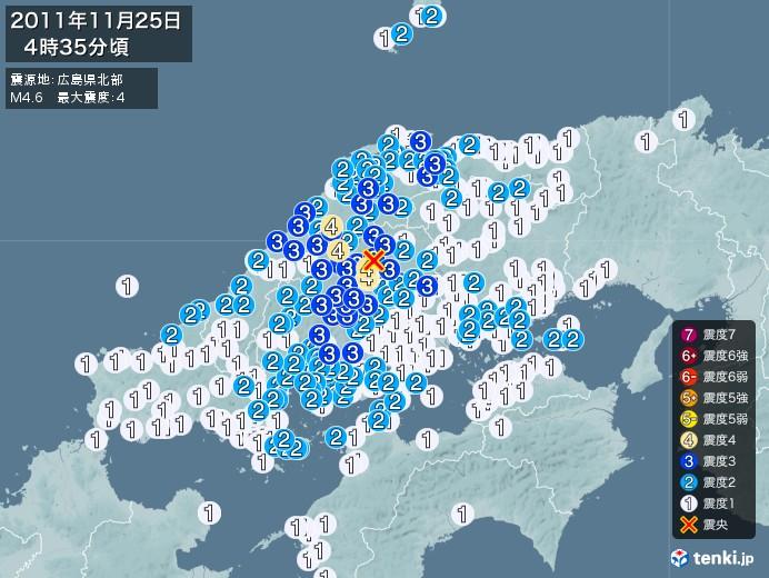 地震情報(2011年11月25日04時35分発生)