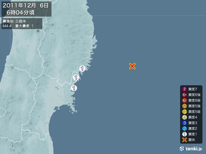 地震情報(2011年12月06日06時04分発生)