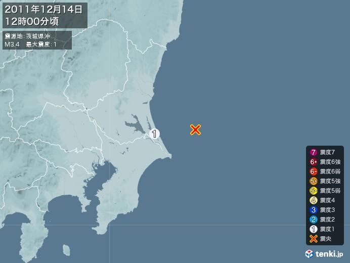 地震情報(2011年12月14日12時00分発生)