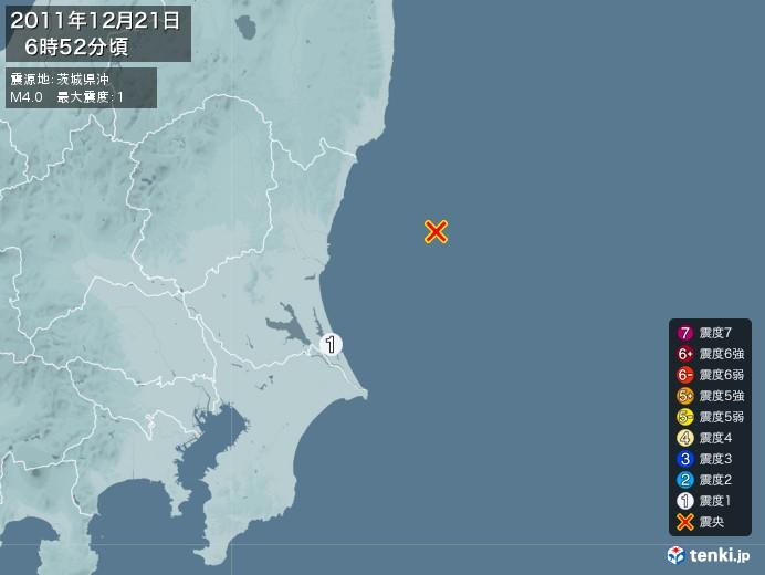 地震情報(2011年12月21日06時52分発生)