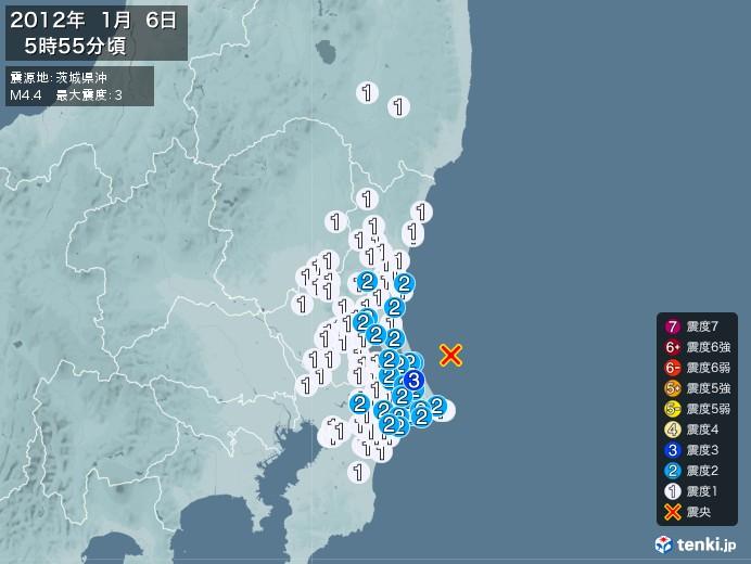 地震情報(2012年01月06日05時55分発生)