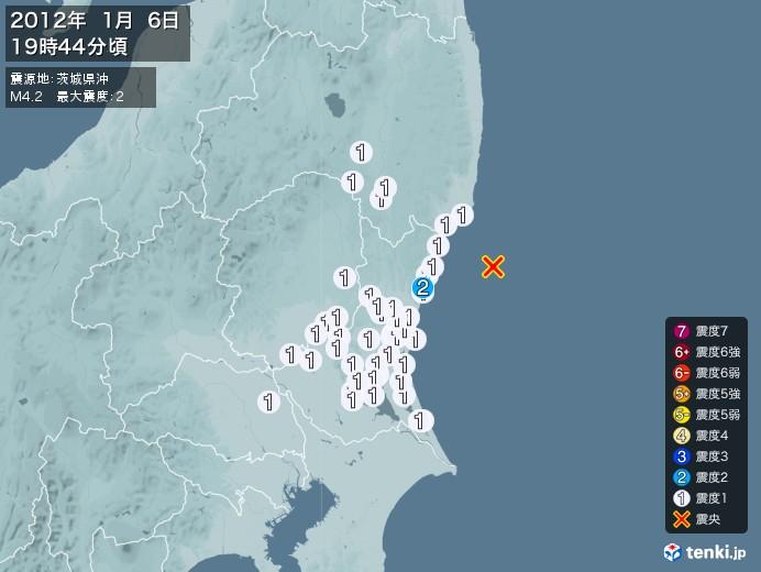 地震情報(2012年01月06日19時44分発生)