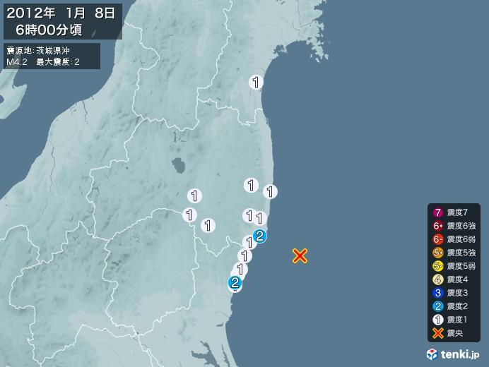 地震情報(2012年01月08日06時00分発生)