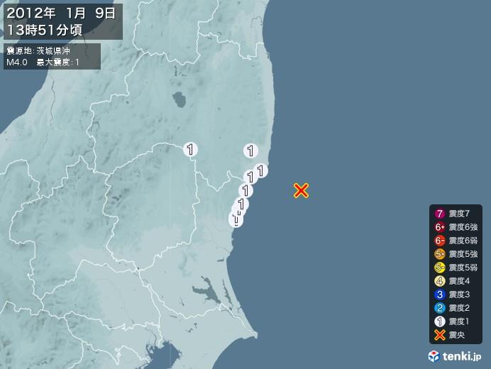 地震情報(2012年01月09日13時51分発生)
