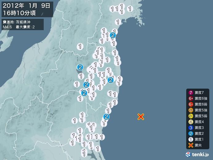 地震情報(2012年01月09日16時10分発生)