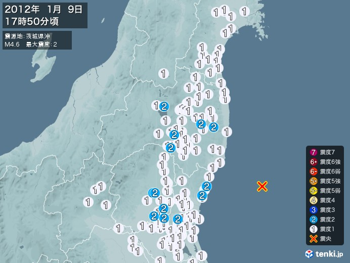 地震情報(2012年01月09日17時50分発生)