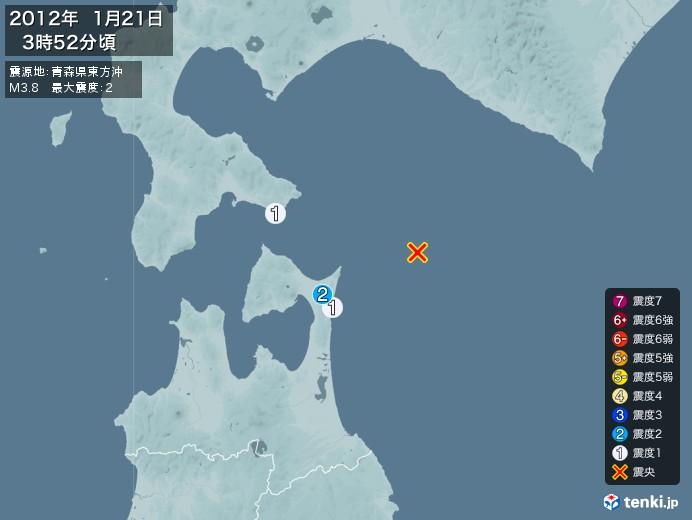 地震情報(2012年01月21日03時52分発生)