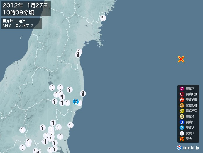 地震情報(2012年01月27日10時09分発生)
