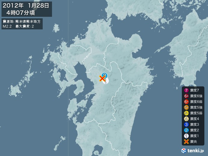 地震情報(2012年01月28日04時07分発生)