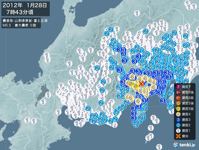地震情報(2012年01月28日07時43分発生)
