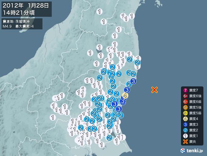 地震情報(2012年01月28日14時21分発生)