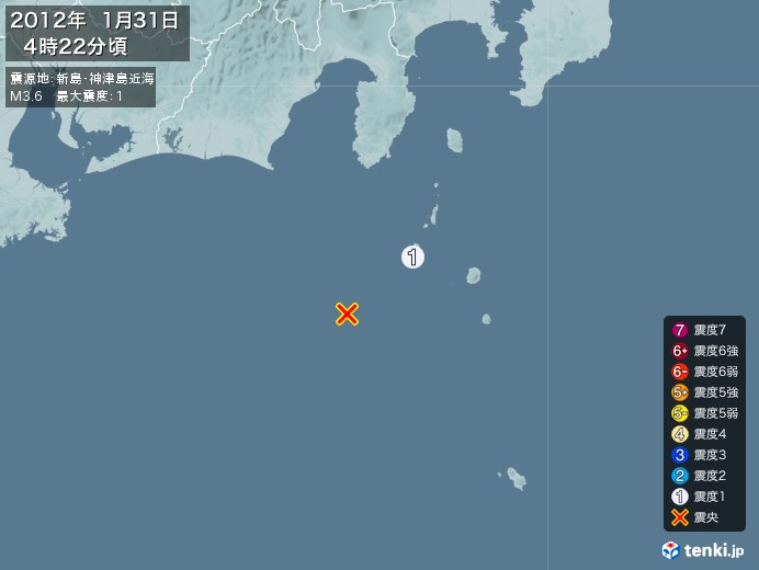 地震情報(2012年01月31日04時22分発生)