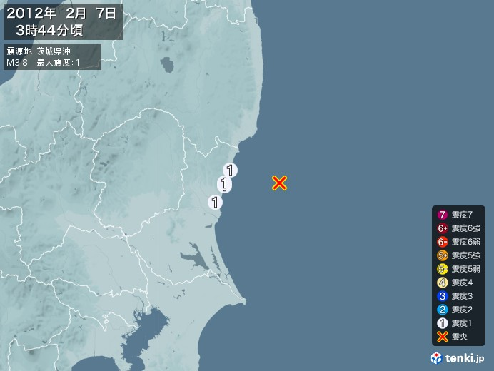 地震情報(2012年02月07日03時44分発生)