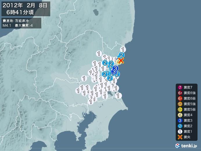 地震情報(2012年02月08日06時41分発生)