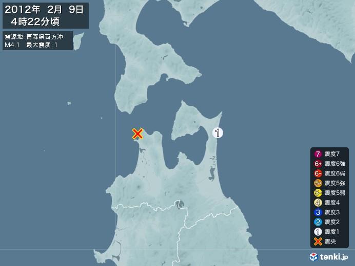 地震情報(2012年02月09日04時22分発生)