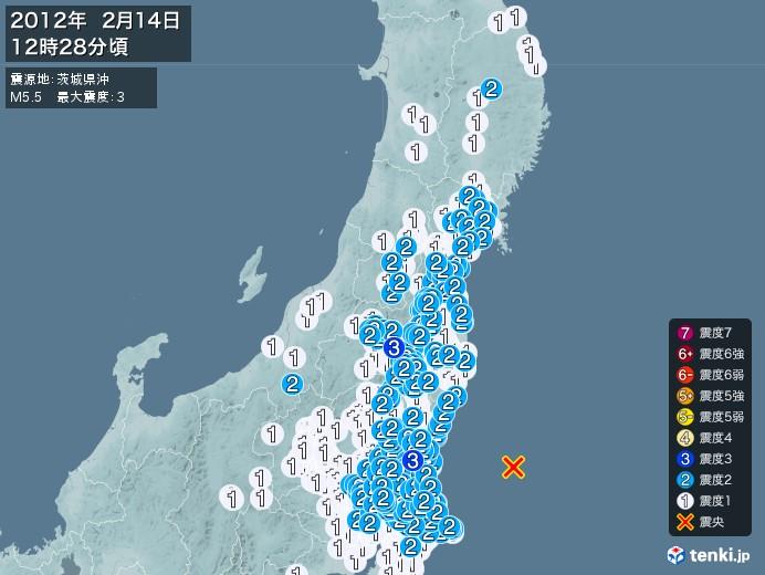 地震情報(2012年02月14日12時28分発生)