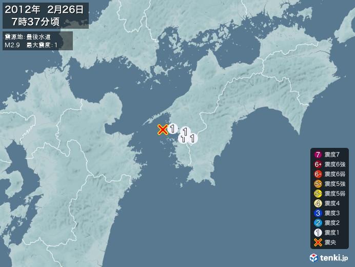 地震情報(2012年02月26日07時37分発生)