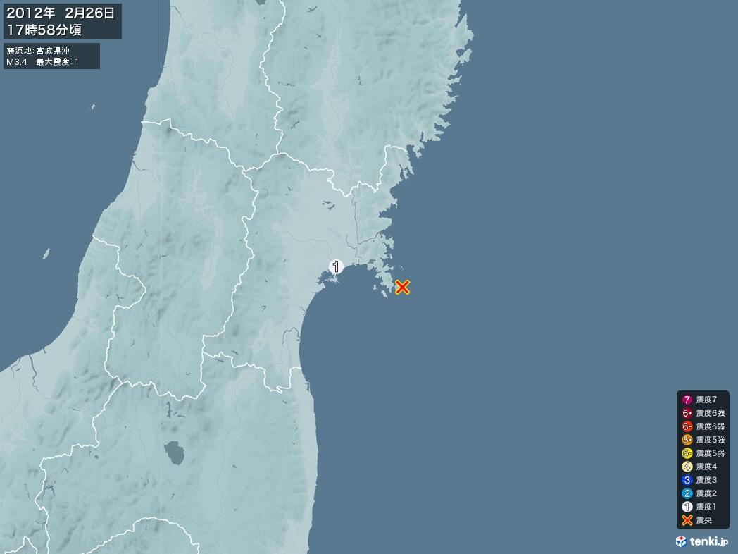 地震情報 2012年02月26日 17時58分頃発生 最大震度:1 震源地:宮城県沖(拡大画像)