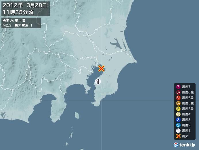 地震情報(2012年03月28日11時35分発生)