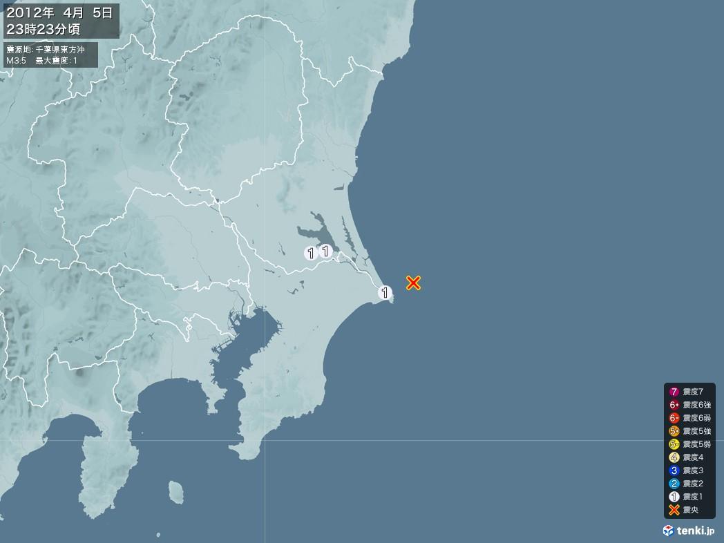 地震情報 2012年04月05日 23時23分頃発生 最大震度:1 震源地:千葉県東方沖(拡大画像)