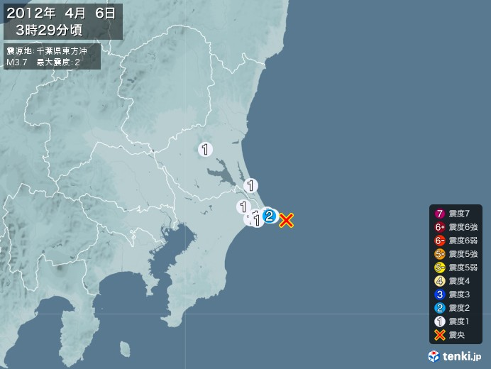 地震情報(2012年04月06日03時29分発生)