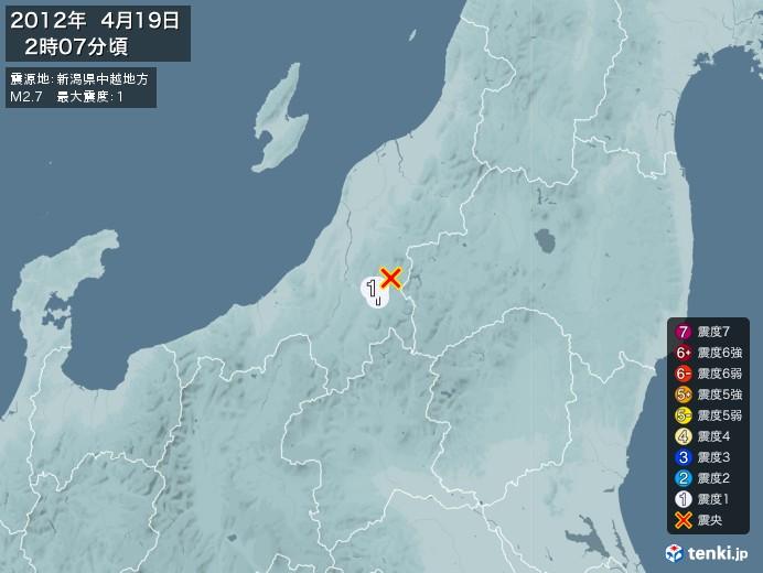 地震情報(2012年04月19日02時07分発生)