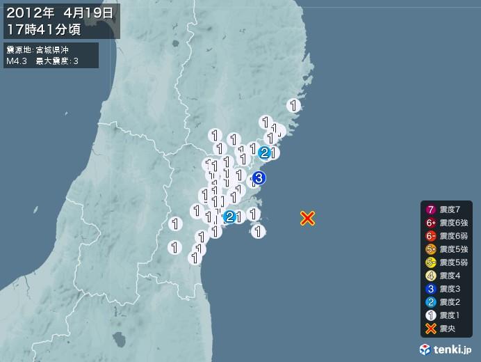 地震情報(2012年04月19日17時41分発生)
