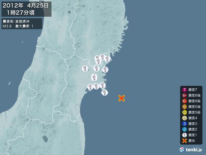 地震情報(2012年04月25日01時27分発生)