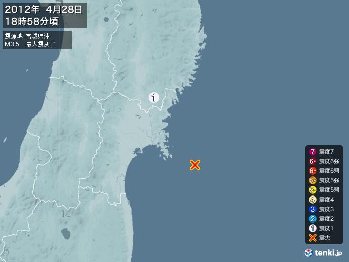 地震情報(2012年04月28日18時58分発生)