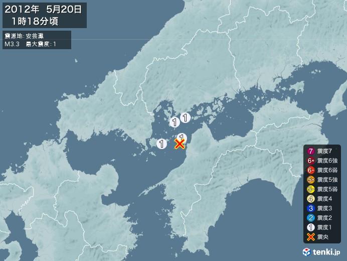地震情報(2012年05月20日01時18分発生)