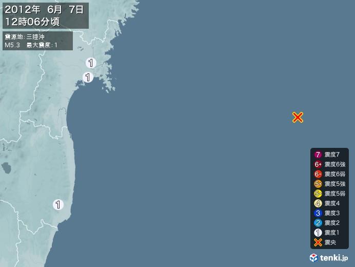 地震情報(2012年06月07日12時06分発生)