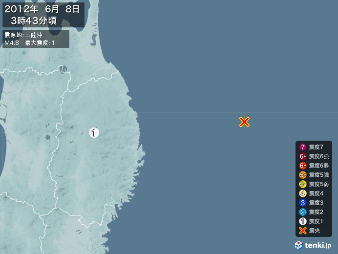 地震情報(2012年06月08日03時43分発生)