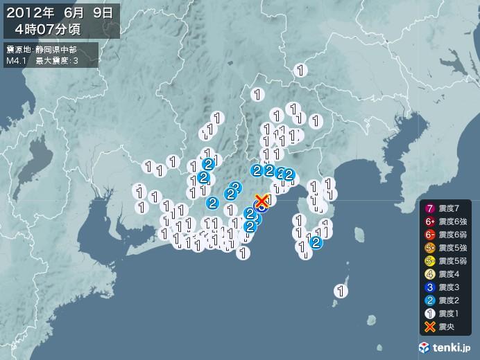 地震情報(2012年06月09日04時07分発生)