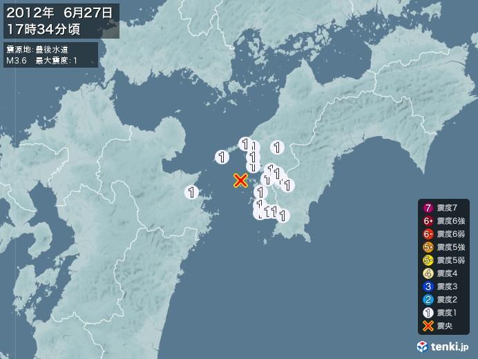 地震情報(2012年06月27日17時34分発生)