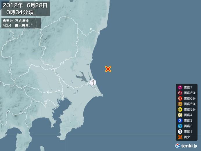 地震情報(2012年06月28日00時34分発生)