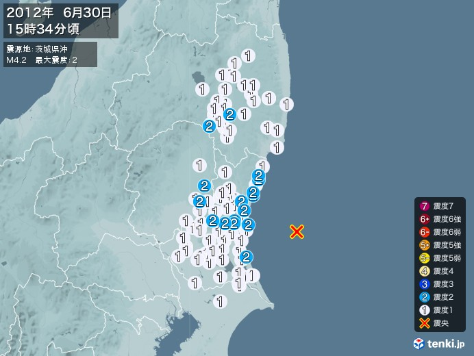 地震情報(2012年06月30日15時34分発生)