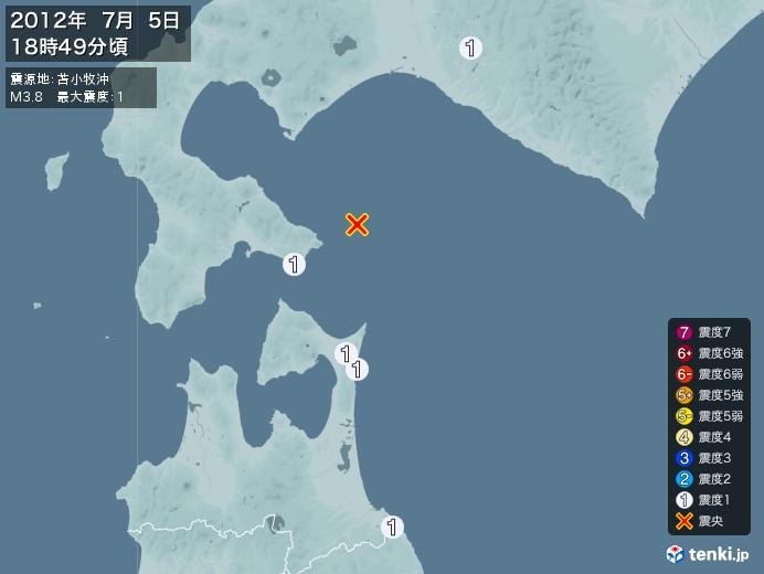 地震情報(2012年07月05日18時49分発生)