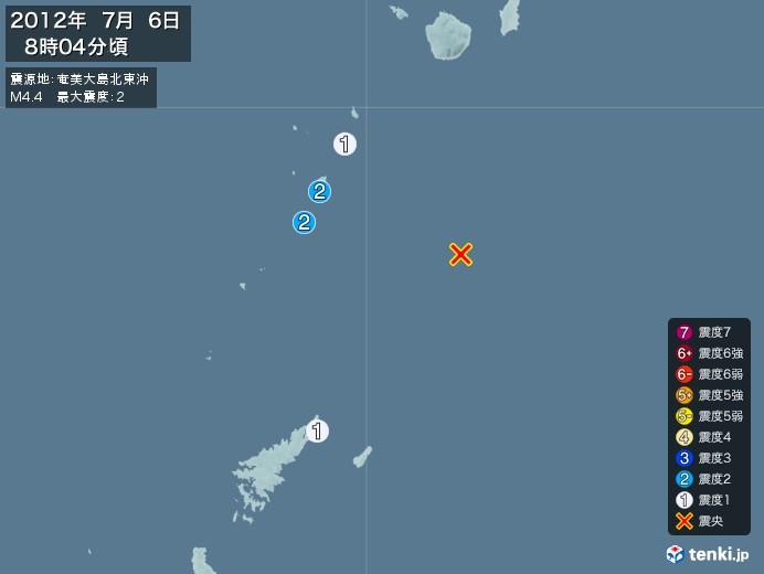 地震情報(2012年07月06日08時04分発生)