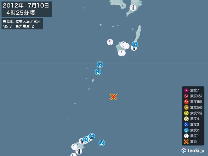 地震情報(2012年07月10日04時25分発生)