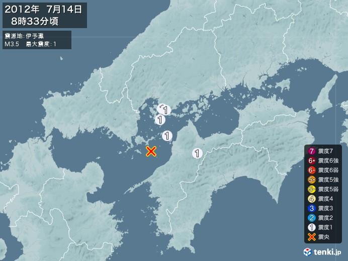 地震情報(2012年07月14日08時33分発生)