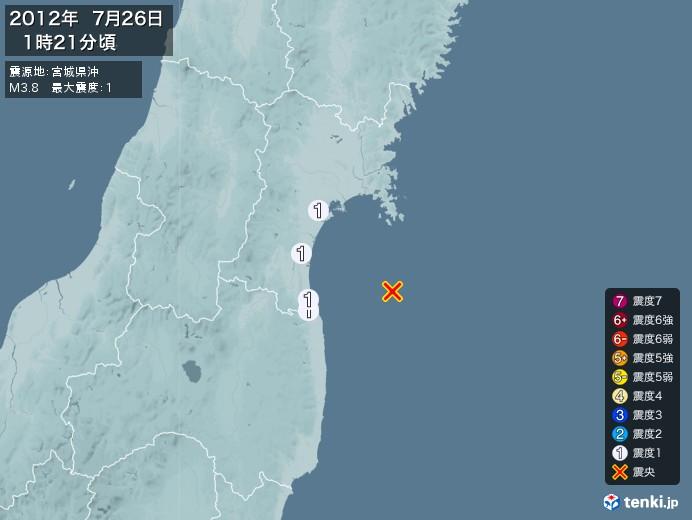 地震情報(2012年07月26日01時21分発生)