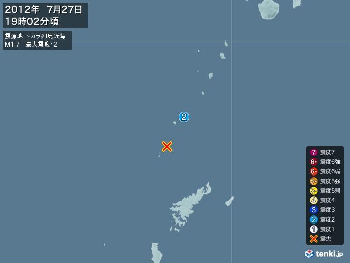 地震情報(2012年07月27日19時02分発生)