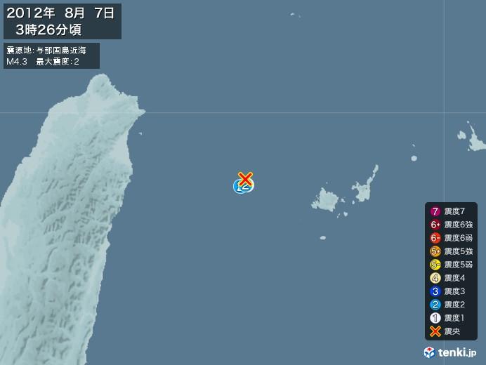 地震情報(2012年08月07日03時26分発生)