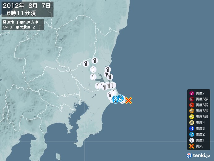 地震情報(2012年08月07日06時11分発生)
