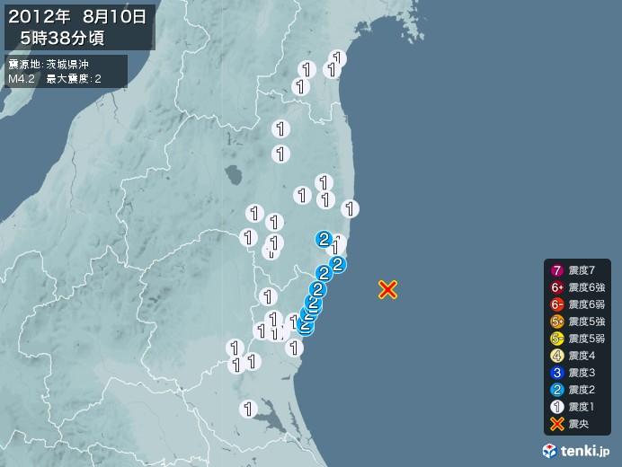 地震情報(2012年08月10日05時38分発生)