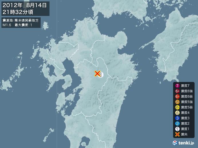 地震情報(2012年08月14日21時32分発生)